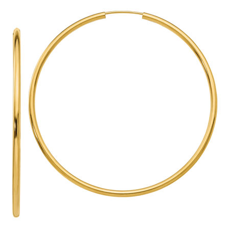 14K Gold 52mm Round Hoop Earrings, One Size , No Color Family