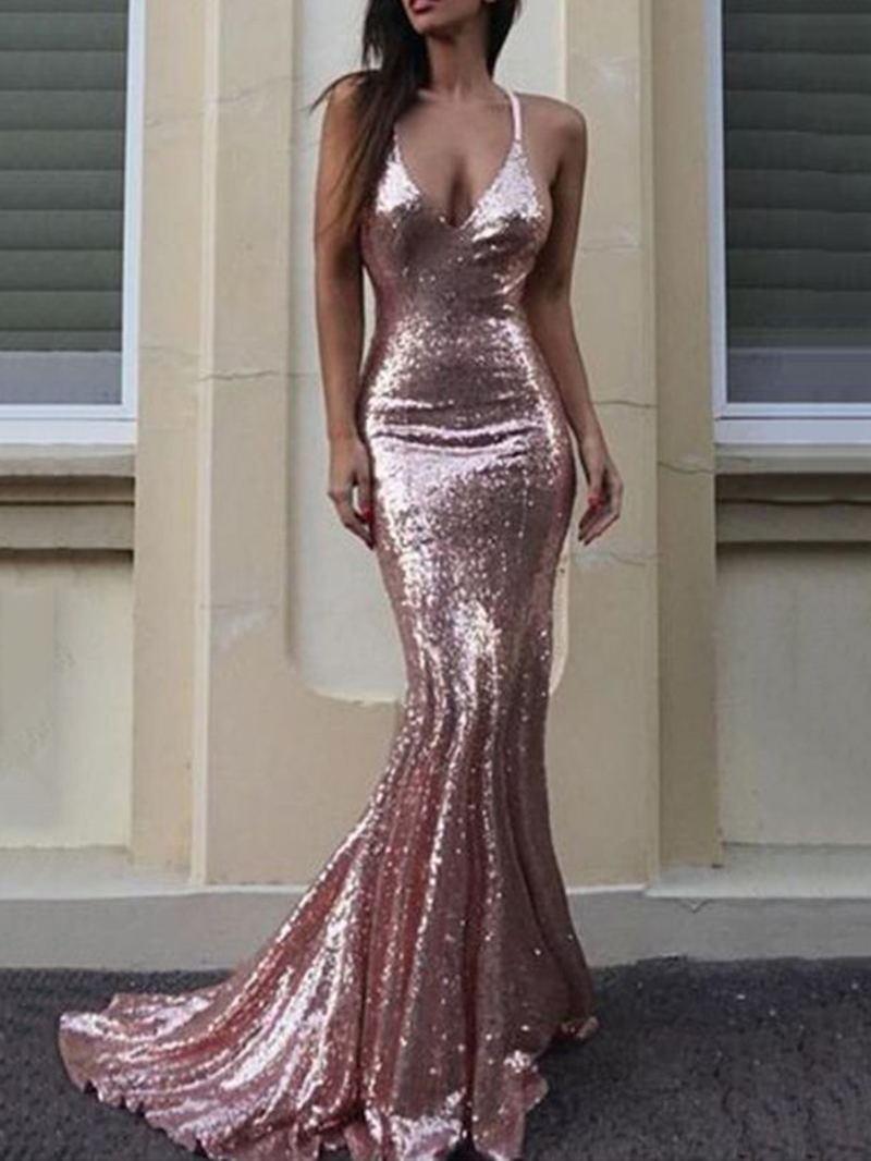 Ericdress Spaghetti Straps Mermaid Sequins Evening Dress