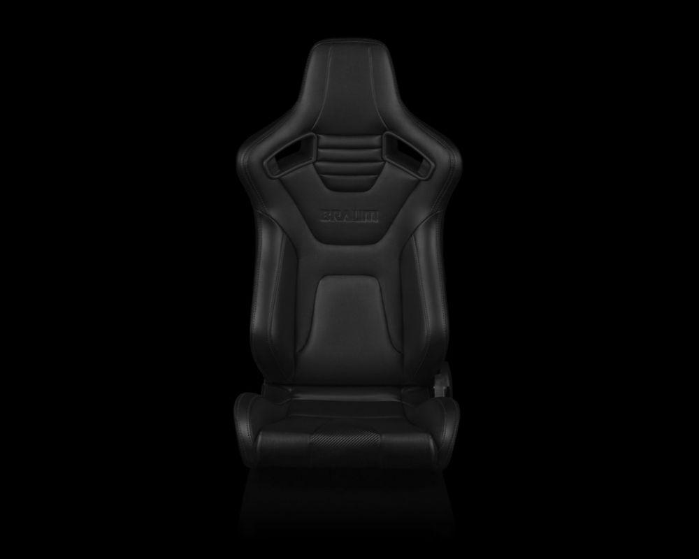 Braum Racing BRR1X-BKBS Elite-X Series Sport Seats Black Leatherette Black Stitching
