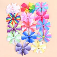 14pcs Girls Colorful Bow Decor Hair Clip