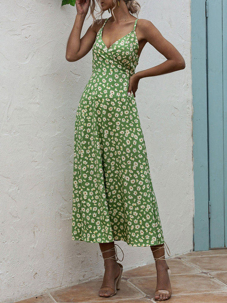 Milanoo Vestidos largos de verano Vestido largo sin mangas con espalda cruzada