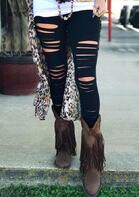 Hollow Out Elastic Waist Skinny Legging - Black