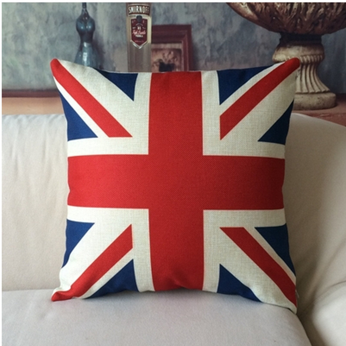 Linen UK Pattern Pillow Cushion Cover Home Office Bed Pillow Case