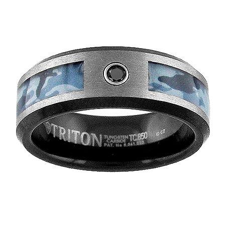8MM Diamond Accent Genuine Black Diamond Tungsten Round Wedding Band, 8 1/2 , No Color Family