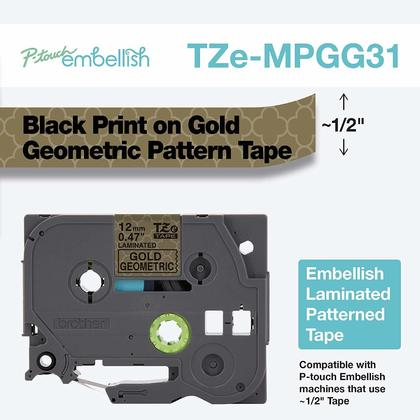Brother TZEMPGG31 Origanal Geometric Pattern Tape for P-touch 12 mm, Black on Gold, 4 m