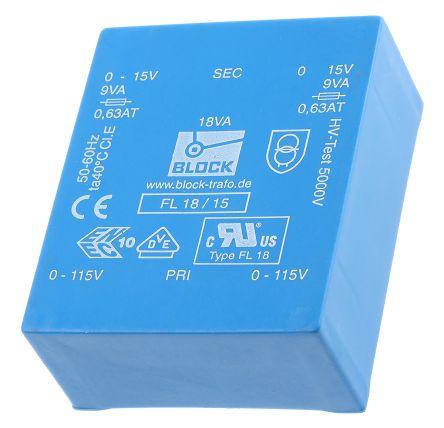 Block 15V ac 2 Output Through Hole PCB Transformer, 18VA