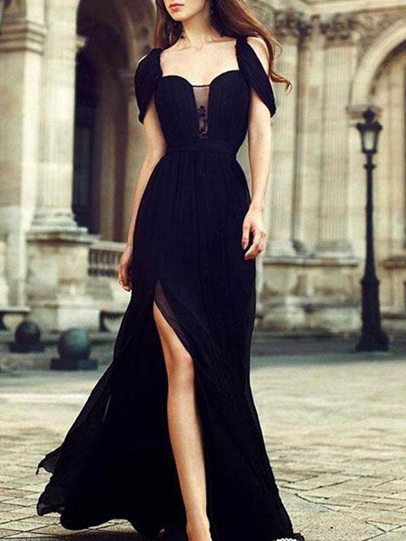 Ericdress Sleeveless Floor-Length Split Party Black Dress