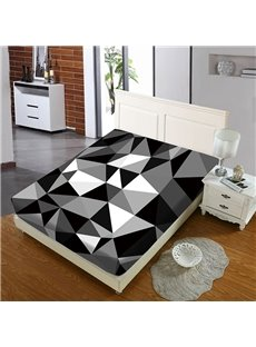 Black And White Geometric Pattern Reactive Printing 1-Piece Polyester Bed Cover / Mattress Cover
