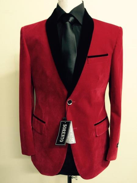 Men's Red Velvet ~ Velour Fabric Dinner Jacket Tuxedo Black Lapeled