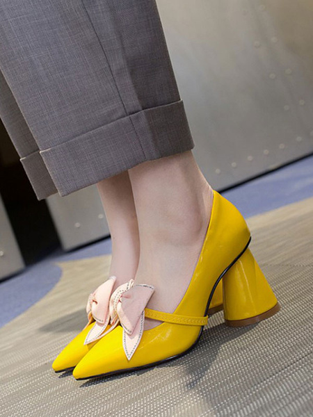 Milanoo Women\'s Pumps Pointed Toe Chunky Heel Bows Yellow Casual Polyurethane Pumps