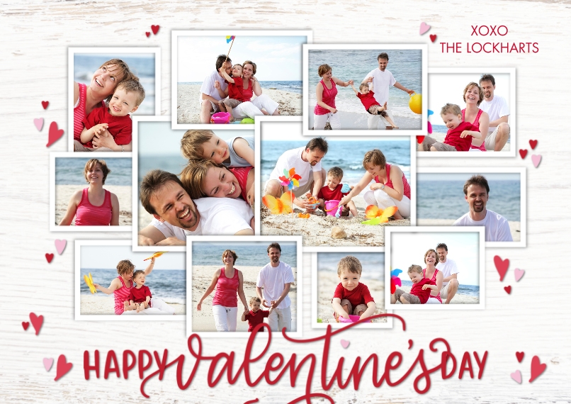 Valentine's Day Cards Flat Matte Photo Paper Cards with Envelopes, 5x7, Card & Stationery -Valentine Collage Hearts by Tumbalina