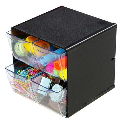 Deflecto® 4 tiroirs cube de rangement empilable, 6 x 6 x 7-1/5 po - Noir