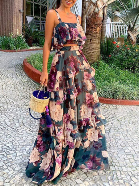 Milanoo Two Piece Sets Dark Navy Ruffled Floral Print Sleeveless Top With Long Skirt