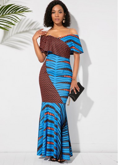 Cocktail Party Dress Half Sleeve Off the Shoulder Printed Maxi Dress - XS