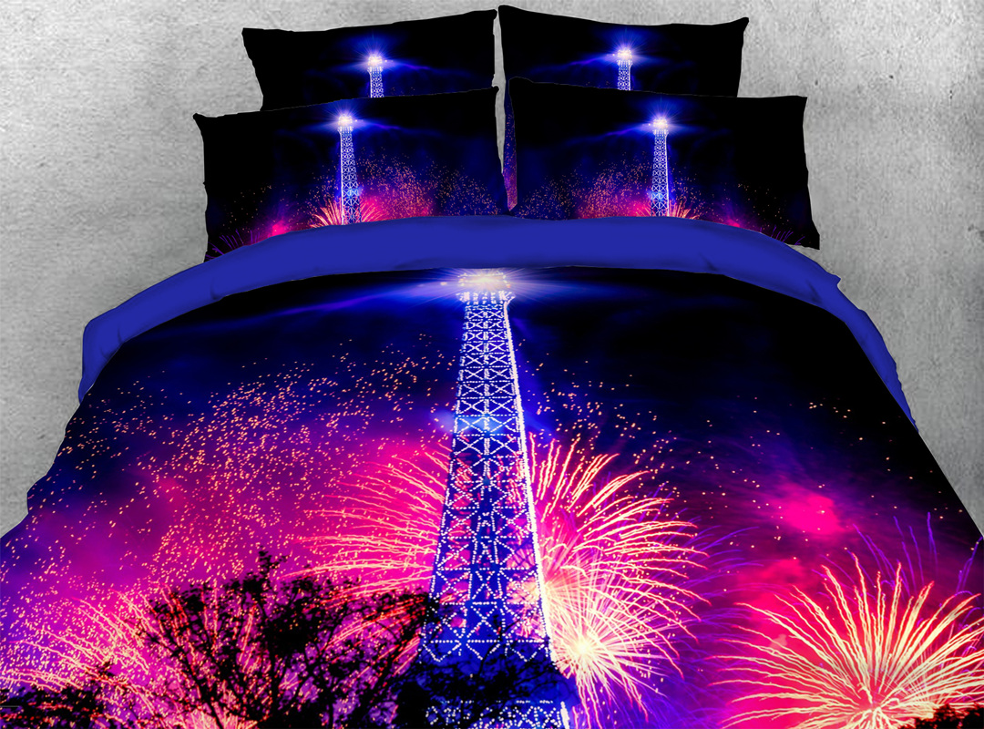 3D Eiffel Tower Fireworks Famous Sights 4Pcs Soft Duvet Cover with Zipper Closure
