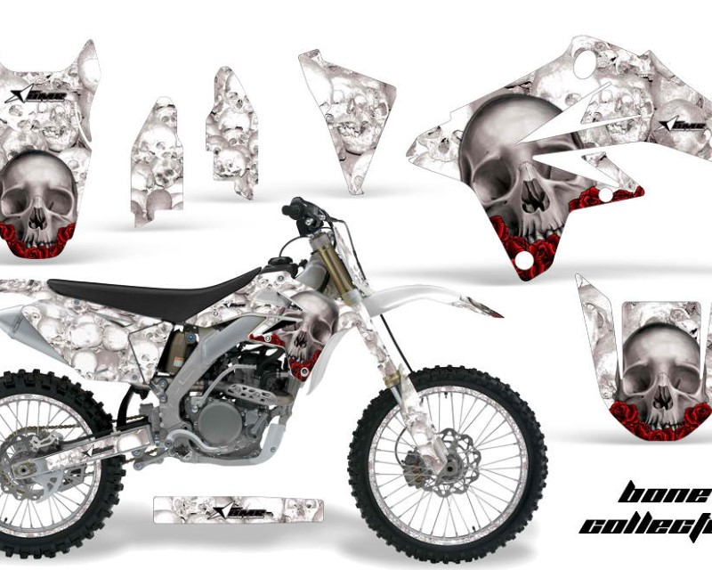 AMR Racing Graphics MX-NP-SUZ-RMZ250-07-09-BC W Kit Decal Sticker Wrap + # Plates For Suzuki RMZ250 2007-2009 BONES WHITE