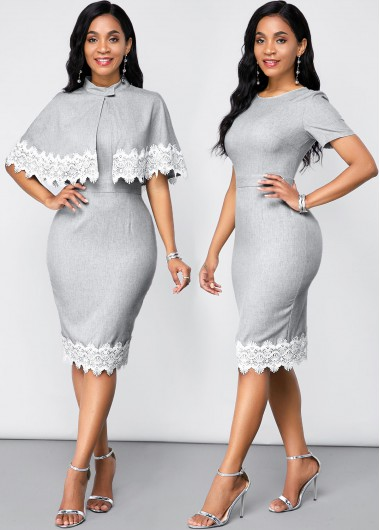 Wedding Guest Dress Lace Panel Shawl and Short Sleeve Round Neck Dress - XL