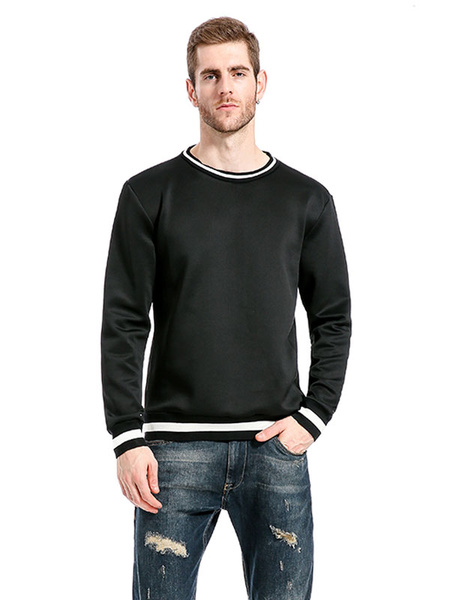 Milanoo Sudadera con capucha de algodon mezclado con escote redondo de dos tonos estilo moderno