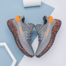 Men Lace Up Decor Wide Fit Knit Sneakers
