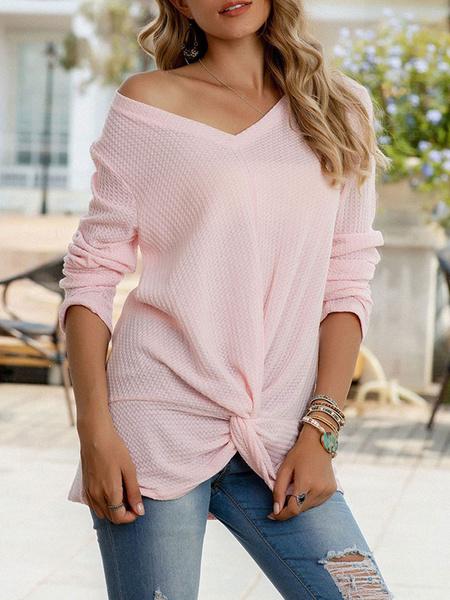 Milanoo Women Long Sleeves Tees Pink Knotted V-Neck Sheer Acrylic Women Tee