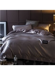 Solid Dark Grey Luxury Style Silky 4-Piece Bedding Sets/Duvet Cover