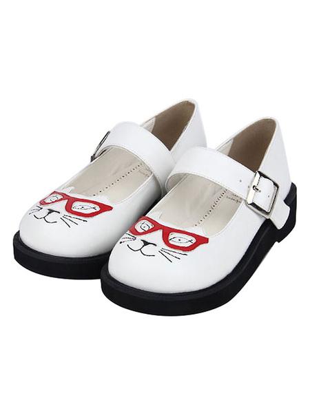 Milanoo Sweet Lolita Shoes Cat Print Buckle Round Toe White Lolita Footwear