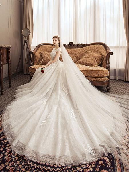Milanoo Vestidos de novia de encaje Princesa Vestido de novia Cuello joya de marfil Vestido de novia de manga corta con tren