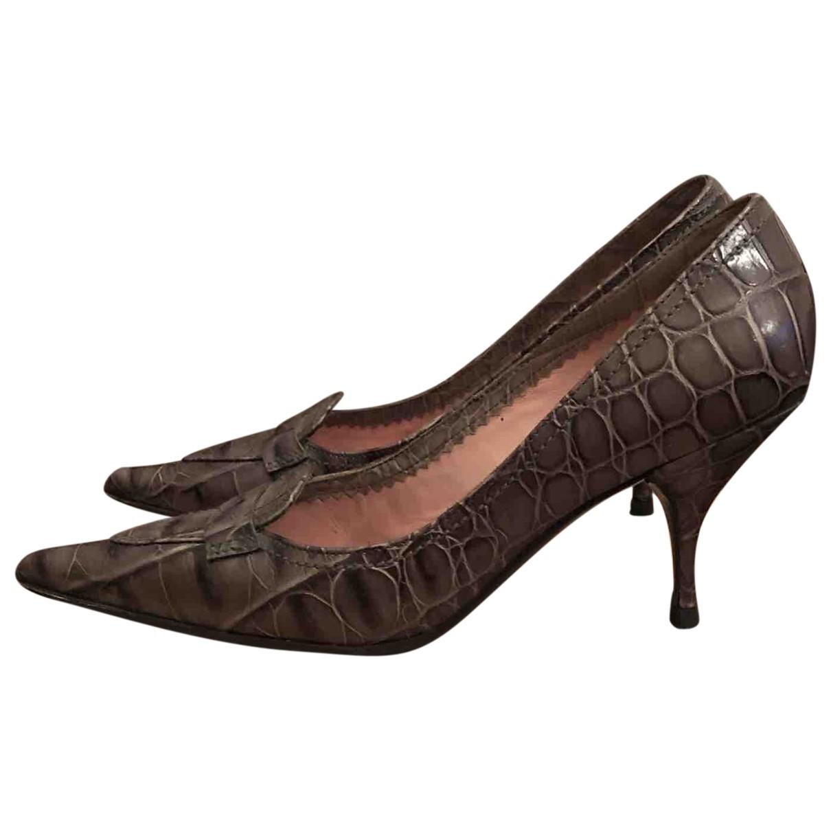 Miu Miu \N Grey Leather Heels for Women 37 EU