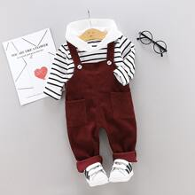 Toddler Boys Striped Hoodie With Corduroy Overall