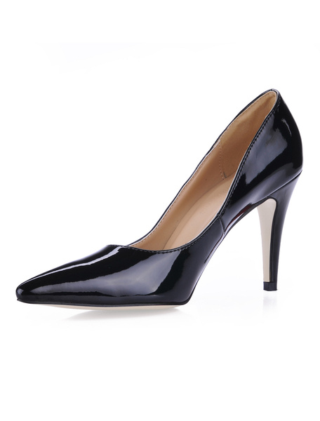 Milanoo Pink High Heels Pointed Toe Patent Leather Slip On Pumps Women Dress Shoes