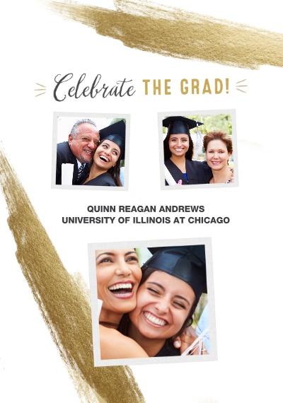 Graduation Framed Canvas Print, Oak, 20x30, Home Décor -Celebrate The Grad Gold Brush