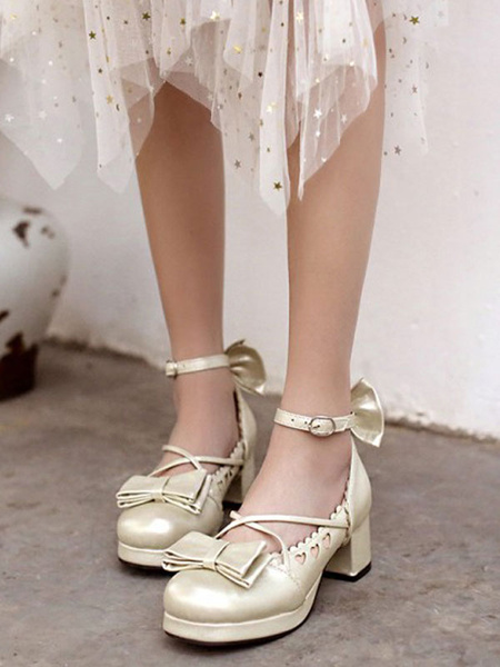 Milanoo Sweet Lolita Footwear Bows Heart Hollow Out PU Leather Chunky Heel Lolita Shoes