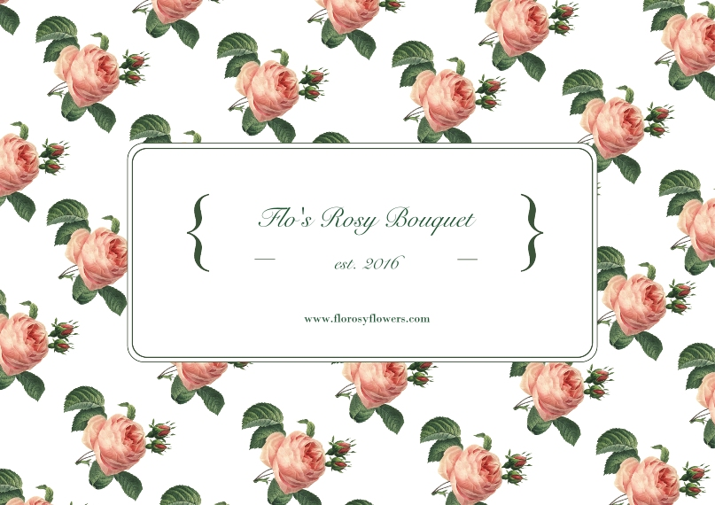 Retail & Fashion Business Postcards, Business Printing -Rose Flower Pattern