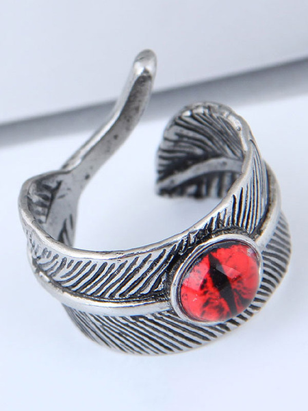 Milanoo Silver Ring Feather Diamond Open Birthday Gift Jewelry