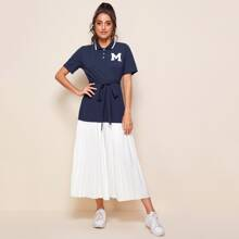 Patched Detail Contrast Pleated Hem Self Belted Polo Dress