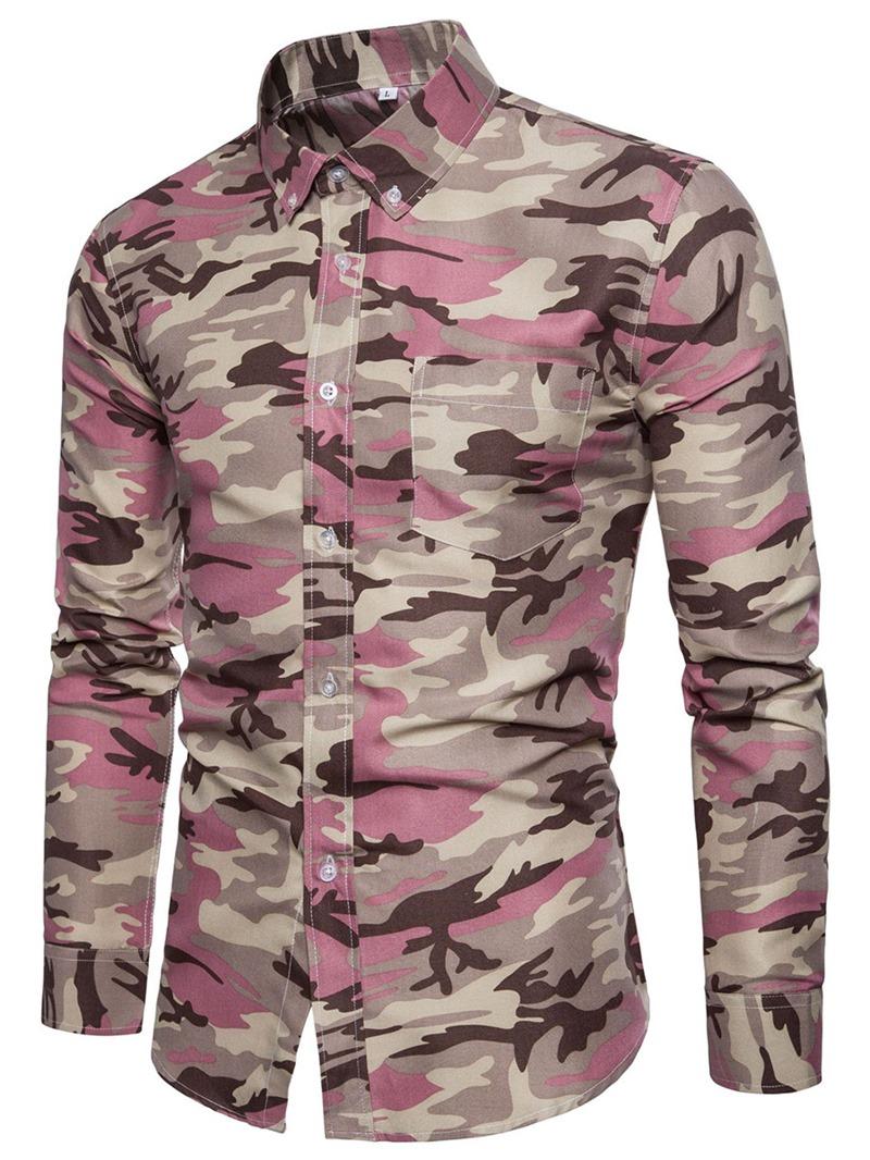Ericdress Camouflage Men's Lapel Slim Fit Shirt