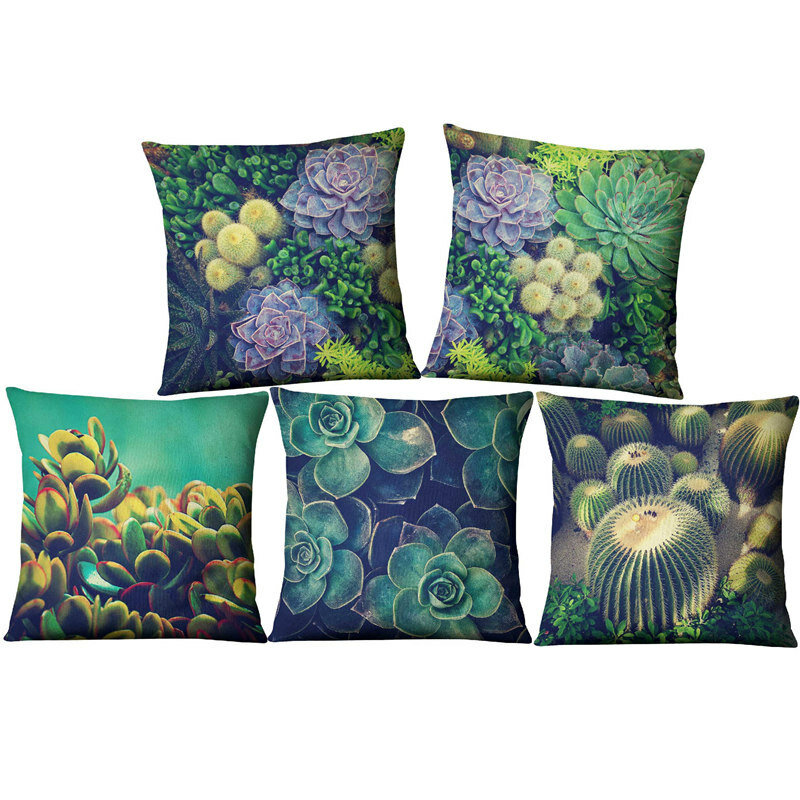 Succulent Cactus Linen Pillow Case Home Fabric Sofa Desert Green Cushion