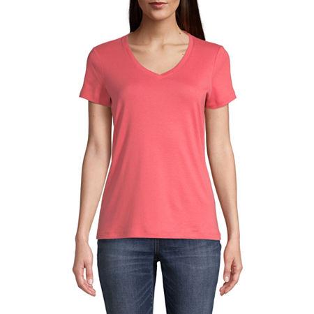 St. John's Bay-Womens V Neck Short Sleeve T-Shirt, X-large , Pink