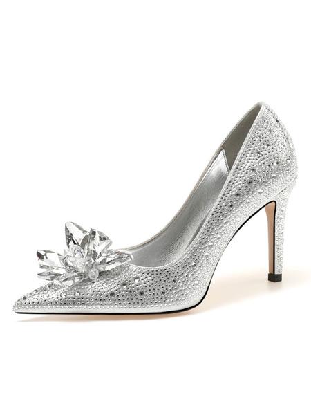 Milanoo Women's High Heels Slip-On Pointed Toe Stiletto Heel Rhinestones Chic Low-Tops Silver Pumps