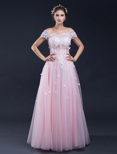 Milanoo Beach Wedding Dress Pink Lace Applique Off-the-shoulder A-line Floor-length Bridal Gown
