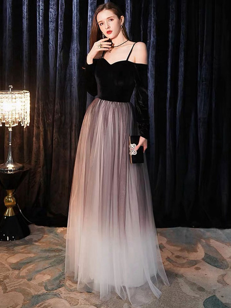Milanoo Prom Dresses Long Off The Shoulder Maxi Tulle Velvet Patchwork Formal Gowns