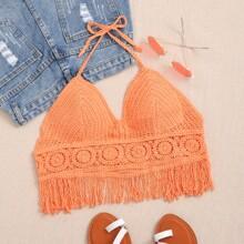 Crochet Fringe Detail Halter Top