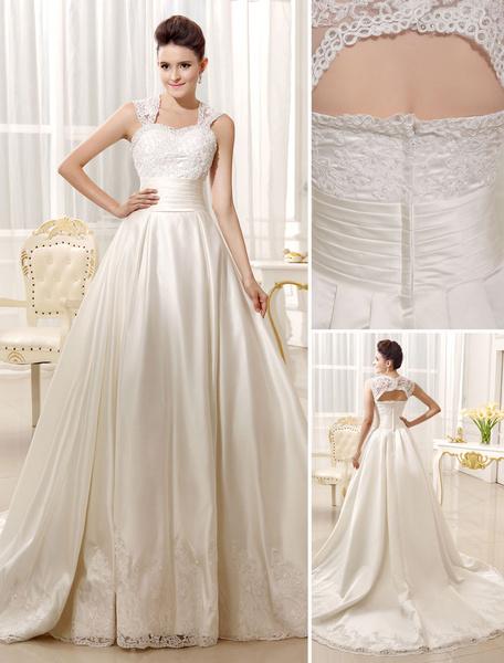 Milanoo A-line Ivory Satin Brides Wedding Dress with Sweetheart Neck