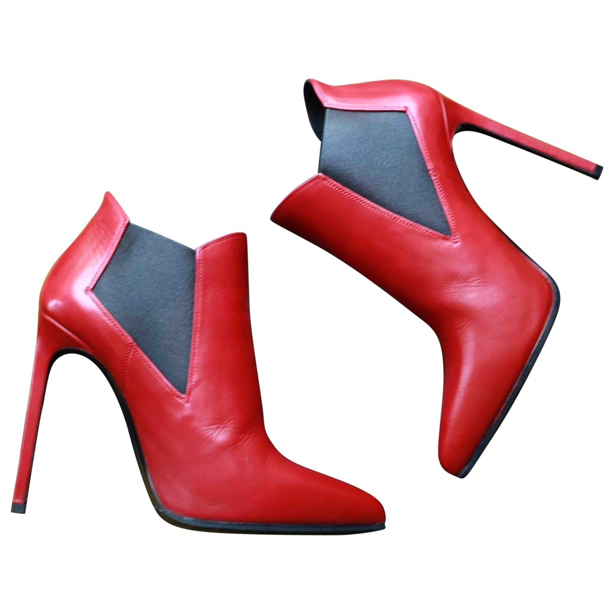 Saint Laurent \N Red Leather Ankle boots for Women 37.5 EU