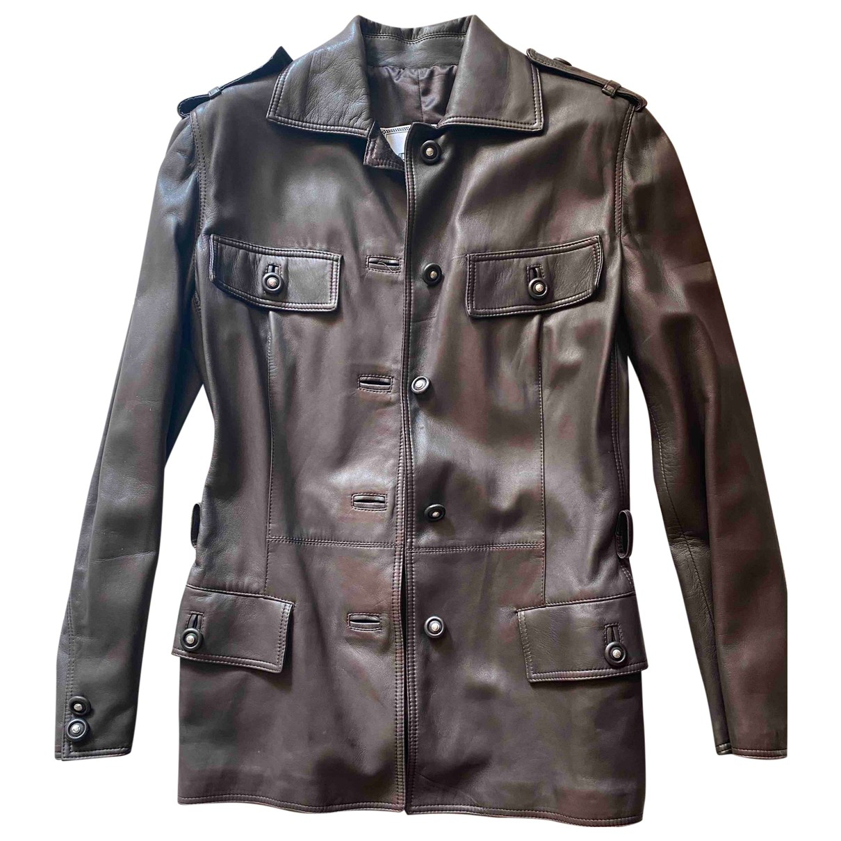 Gianni Versace \N Brown Leather Leather jacket for Women 42 IT
