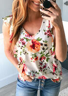 Floral Ruffled Hollow Out Tank - White