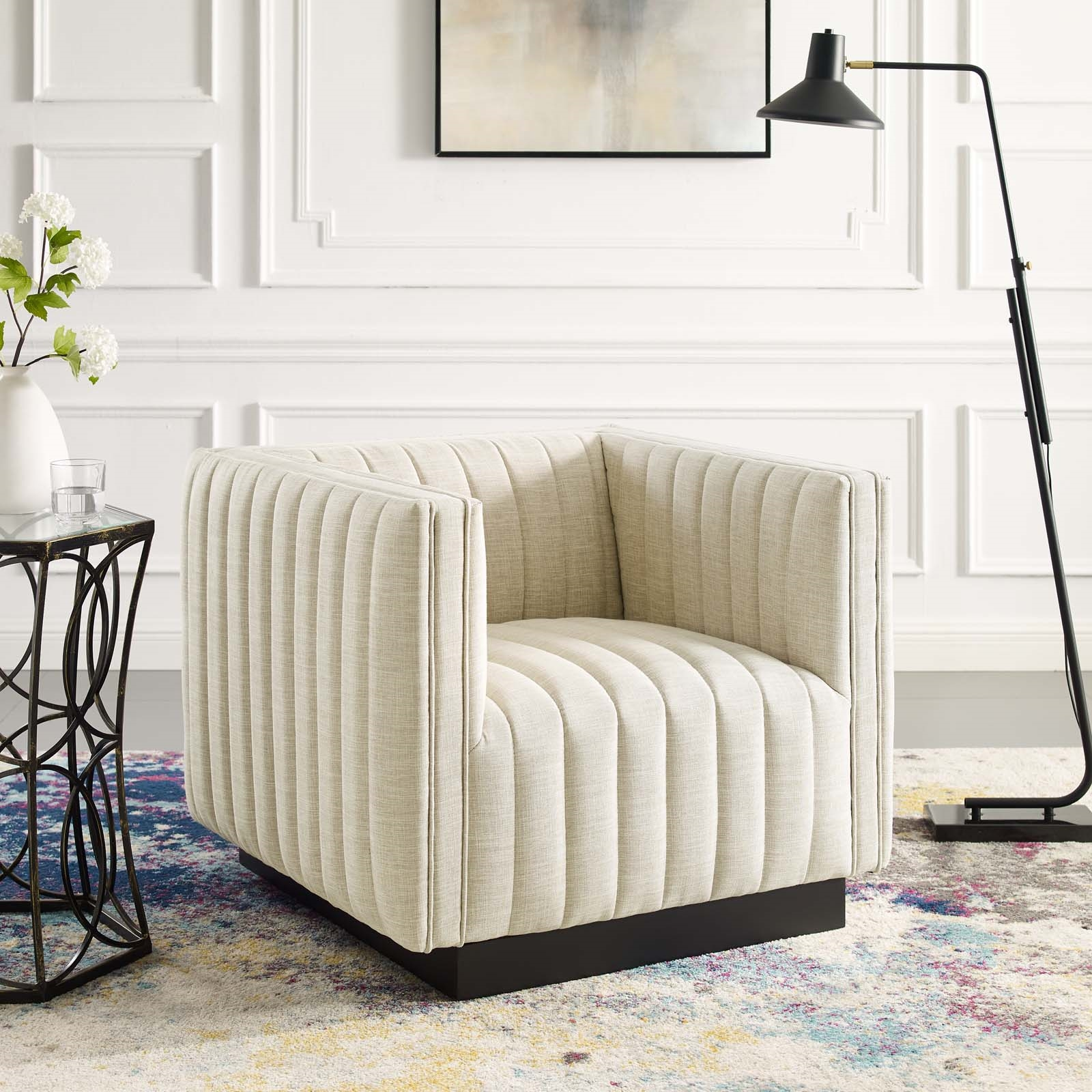 Conjure Tufted Upholstered Fabric Armchair in Beige