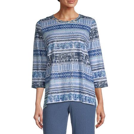 Alfred Dunner Fall Classics Tee-Womens Crew Neck 3/4 Sleeve T-Shirt, Medium , Blue
