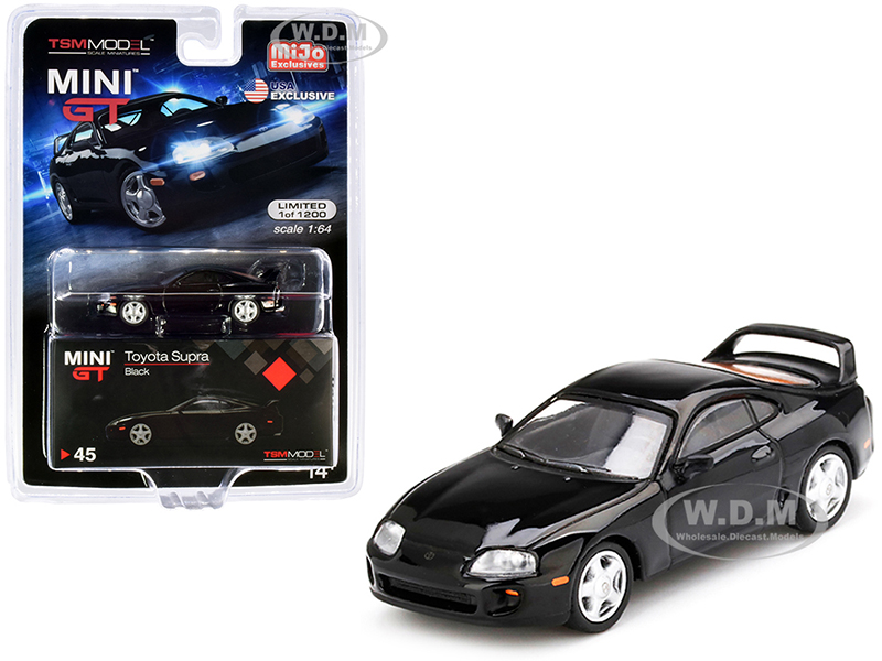 Toyota Supra (JZA80) Black Limited Edition to 1200 pieces Worldwide 1/64 Diecast Model Car by True Scale Miniatures