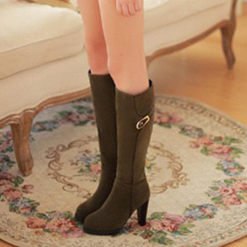 Ericdress Buckle Side Zipper Plain Knee High Boots